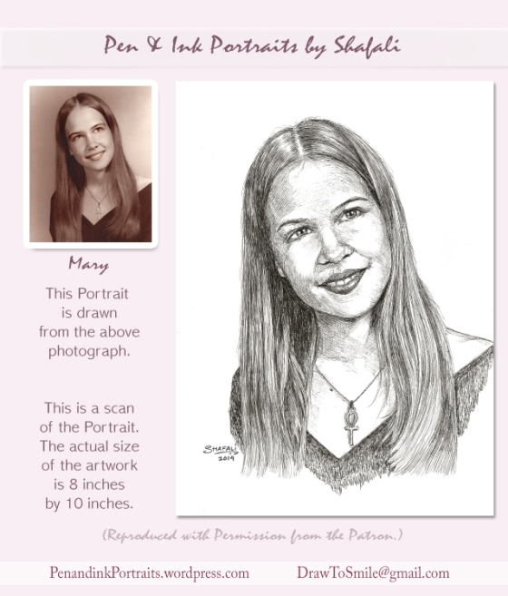 Pen and Ink portrait of a beautiful young girl - done in Pen and Ink from a Photograph.