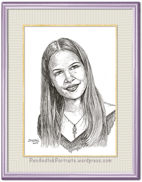 Pen and Ink Portrait of a young woman by portrait artist Shafali.