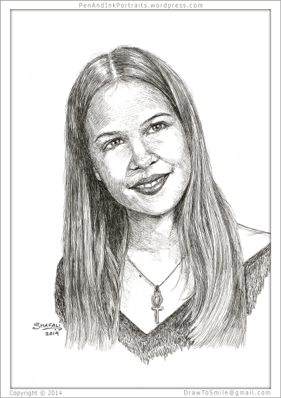 Pen and Ink Portrait of a young woman - done from Photograph.