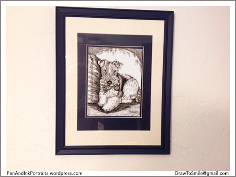 Portrait of Dewey Dewester looks nice on the wall - A portrait of a WFT - done in Pen and Ink.