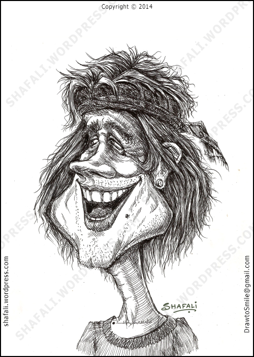 Caricature Portrait of a man laughing.
