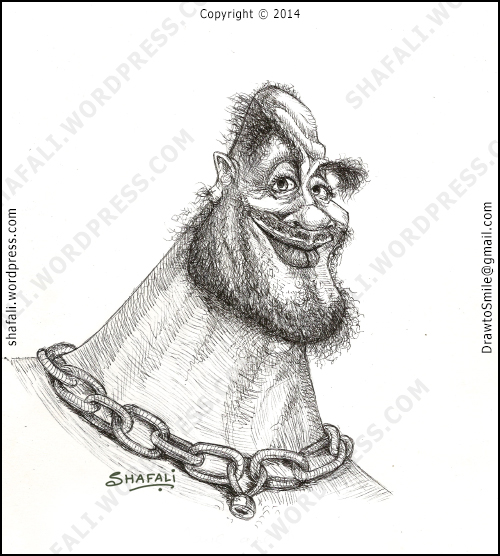 Portrait caricature of a goon with a heart, a smiling man, bearded man