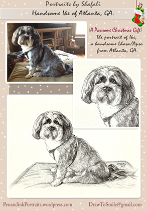 Pet Portraits from Photographs - Ike - a Handsome Lhasa Apso from Atlanta, Georgia - A Pen and Ink portrait by Shafali.