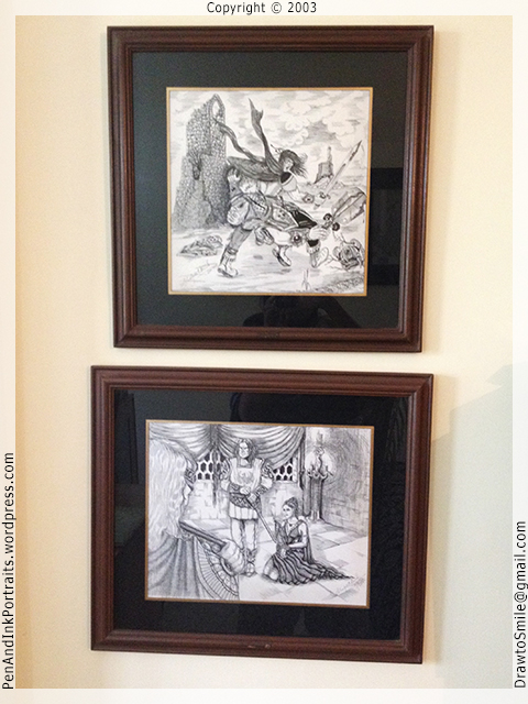 Pen and ink fantasy-art - knight fighting evil and woman prisoner - artist shafali