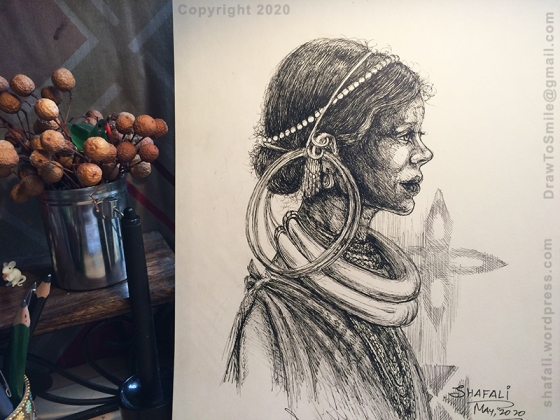 Indian Tribal Portraits in Pen and Ink - Gadaba Woman